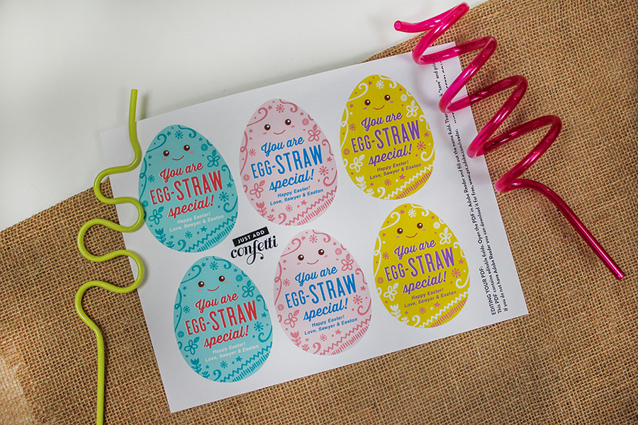 crazy straw Easter gift, gift tag, Easter gift tag, Easter gift tag printable, Easter egg tag, favor tag, crazy straw, Easter, classroom gift, school gift, Easter gift for kids, you are egg-straw special, Just Add Confetti, Etsy,