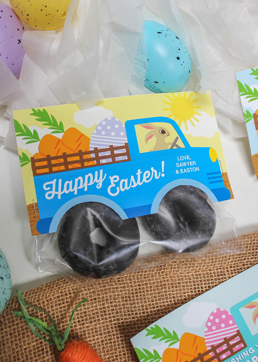 Bunny Truck Donut Easter Treat, donut tires, easy Easter treat, easy Easter gift idea, Easter printable, Easter, donuts, Easter gift idea for kids, Just Add Confetti, Etsy, Easter bunny, creative gifts, Easter treat bag printable, Easter treat bag topper