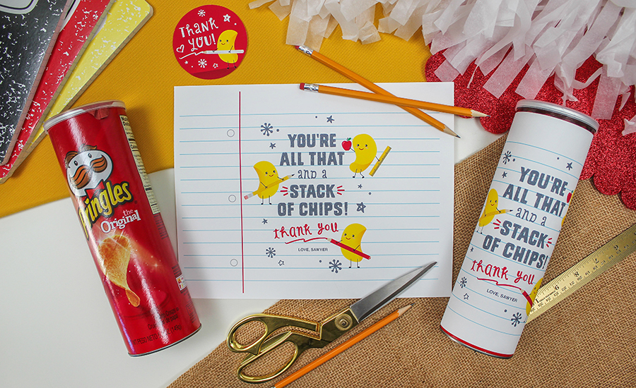 Pringles Chips Teacher Appreciation Gift Idea, all that and a stack of chips, teacher gift, creative teacher gift, DIY teacher appreciation gifts, end of the year gifts, teacher appreciation, staff appreciation, Just Add Confetti, printable label, Etsy shop, DIY gift idea, thank you, thank you gift
