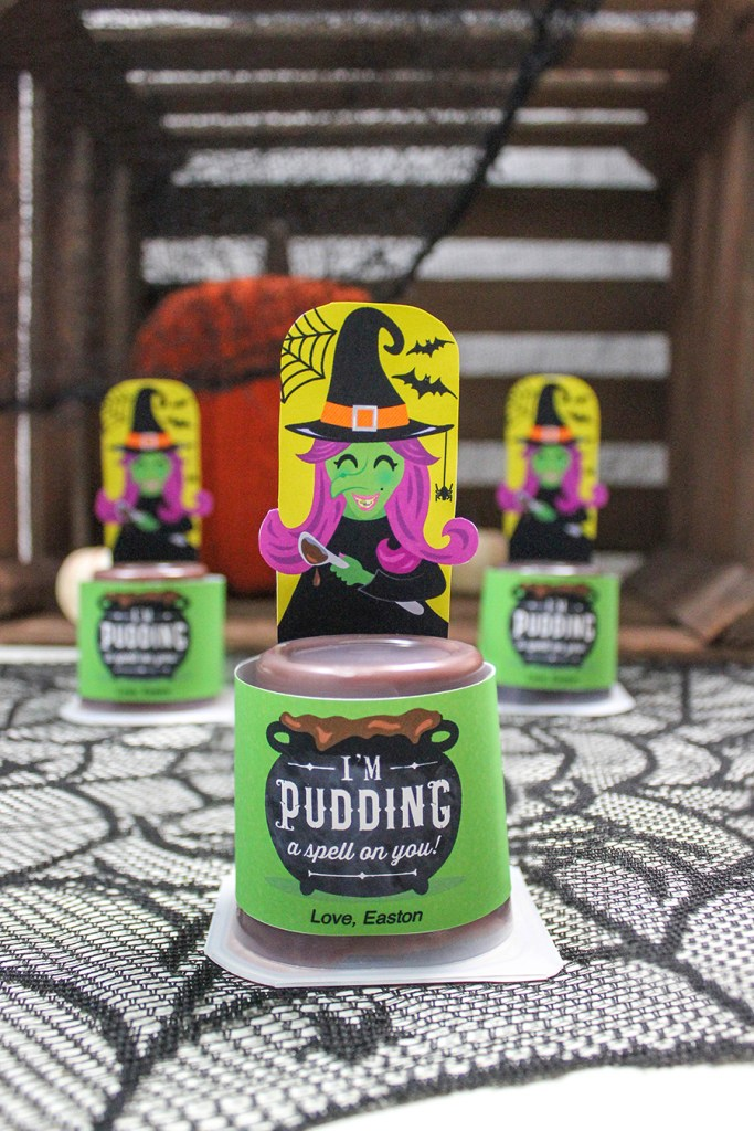 Witch Pudding Cup Halloween Treat Idea, pudding, Halloween, pudding a spell on you, witch, pudding witch, classroom treat, Halloween party food, classroom party, classroom party idea, home room mom, Just Add Confetti, school Halloween party, party idea, Halloween food, Halloween treat, witch and pudding, I'm pudding a spell on you, Etsy, printables,