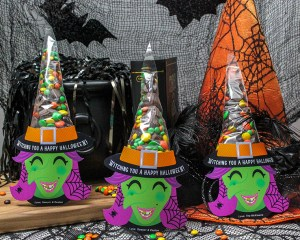 DIY Halloween Witch Hat Treat Bags