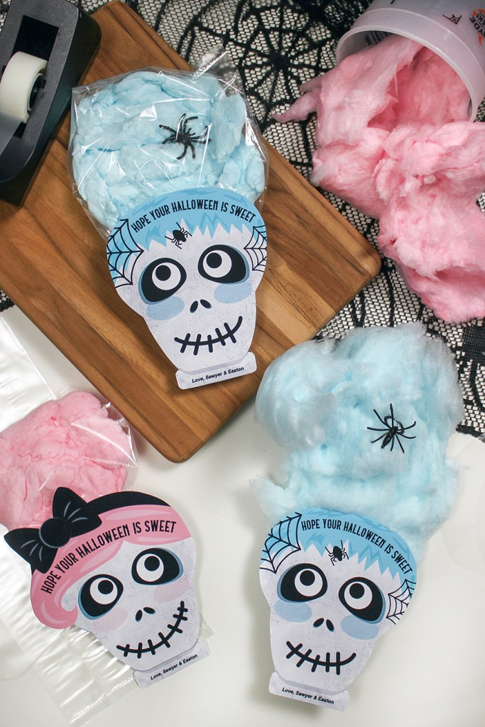 skeleton cotton candy Halloween treat, skeleton, cotton candy, cotton candy hair, cotton candy treat bag, Just Add Confetti, skeleton treat bag tag, treat bag, gift tag, printable, Etsy shop, pink hair, blue hair, pink, blue, hope youe halloween is sweet, spider rings, Halloween party favor, classroom handout, Halloween gift, Halloween treat