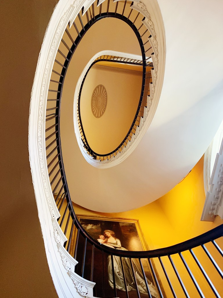 a photo of the spiral staircase within the Nathaniel Russel House