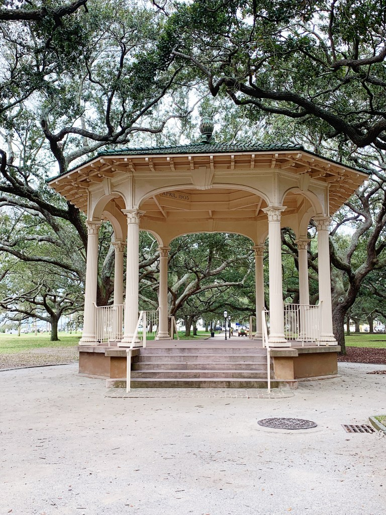a photo of the gazebo in the park near the battery