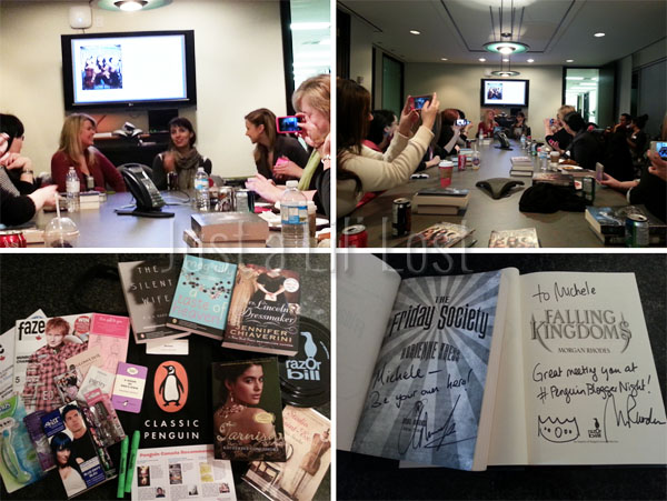 Interview laughs | Phone pics mania down the table! | Our lovely goodie bag | My signed books!
