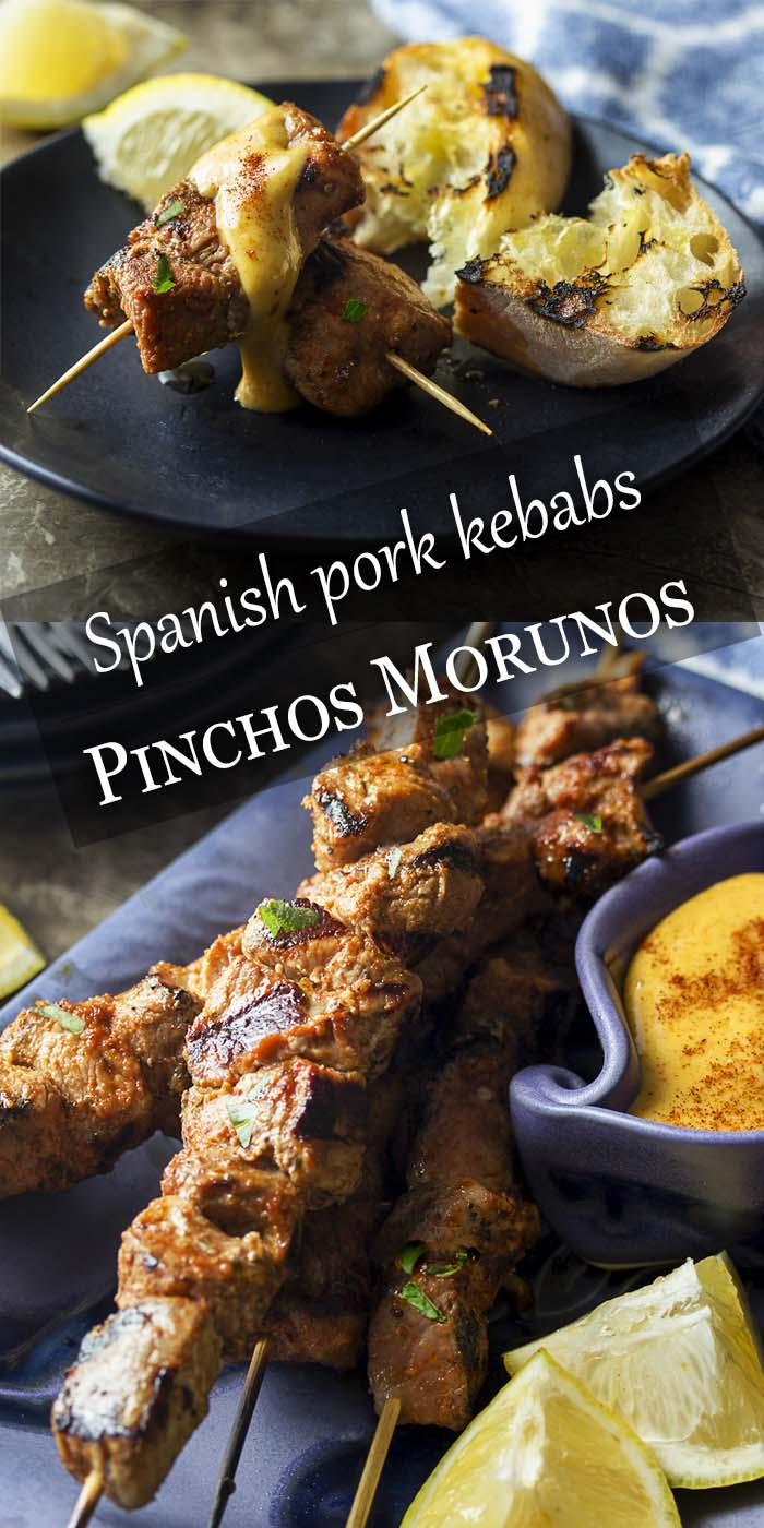 Pinchos morunos are a delicious Spanish tapas. These little pork kebabs are marinated and grilled then served with a paprika aioli sauce for a great summer appetizer. | justalittlebitofbacon.com #summerrecipes #spanishrecipes #appetizer #tapas #grilling #porktenderloin #kebabs