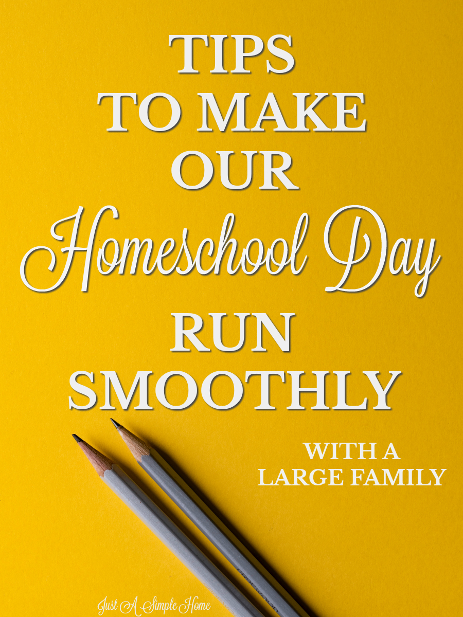 Tips to Make Our Homeschool Day Run Smoothly with a Large Family. It doesn't have to be chaos every day, even if you have a large family. These are some tried and true tips to making your homeschool day run a little better. #homeschool #Sonlight #homeschooltips