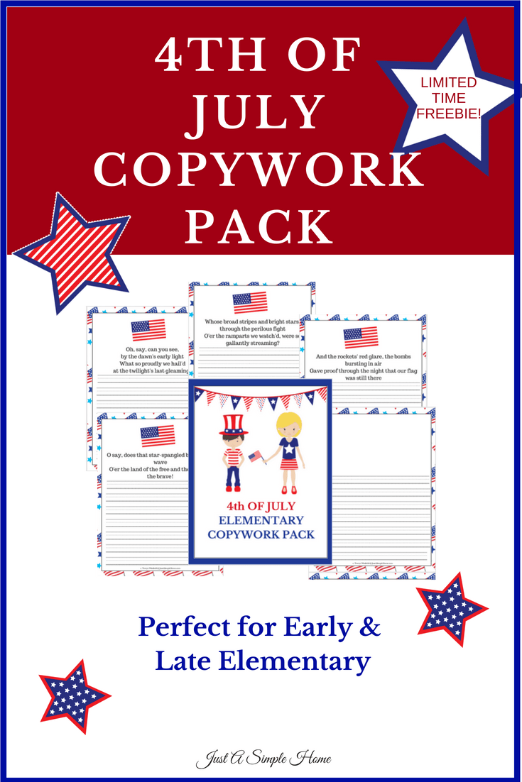 Free 4th of July Copywork Pack! Use in your homeschool, even if you aren't schooling in the summer! It is fun! Children will learn the National Anthem too! #homeschool #freeprintable #4thofjuly #july4th