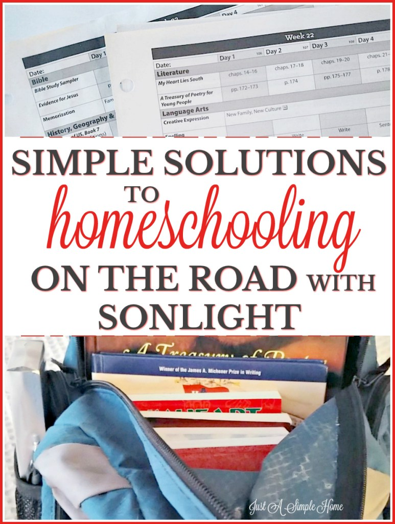 Solutions to homeschooling while on the road or on family vacation. It doesn't have to be overwhelming! You can homeschool even when you aren't home. Having a curriculum like Sonlight makes it so simple to pack when you need and go. #sponsored #Sonlight #homeschool #homeschooltips #homeschoolplanning #familytravel