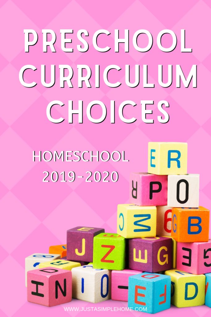 Homeschool Preschool Curriculum choices for 2019-2020