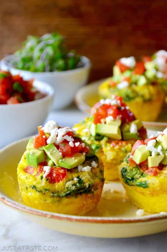 Healthy Breakfast Egg Muffins Recipe via Just a Taste