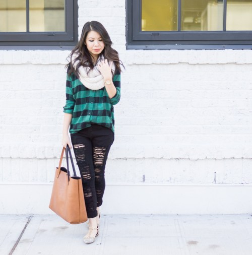 Flannel Fashion Teal Plaid Shirt with Ripped Black Skinny Jeans and Pale Scarf with Large Handbag