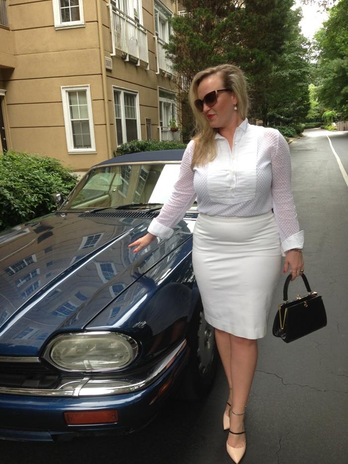 JCrew Tuxedo Bib & Pencil Skirt