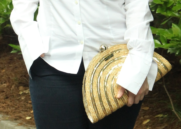 Kate Spade Gold Foldover Clutch