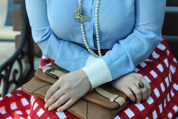 ASOS Red Checkered Skirt Vintage Jewelry
