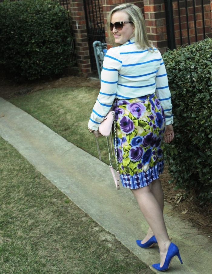 Stripe Pullover Floral Skirt