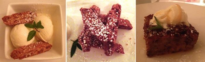 Veni Vidi Vici Dessert Vanilla Gelato, Almond Biscotti, Bread Pudding