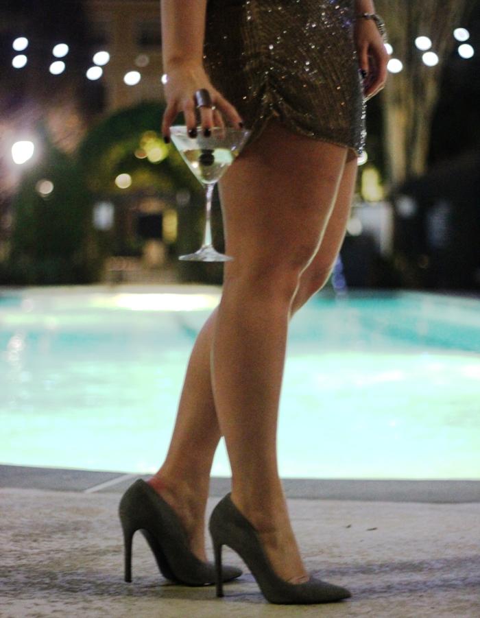 Parker Bead NYE Dress Gray Suede Heels