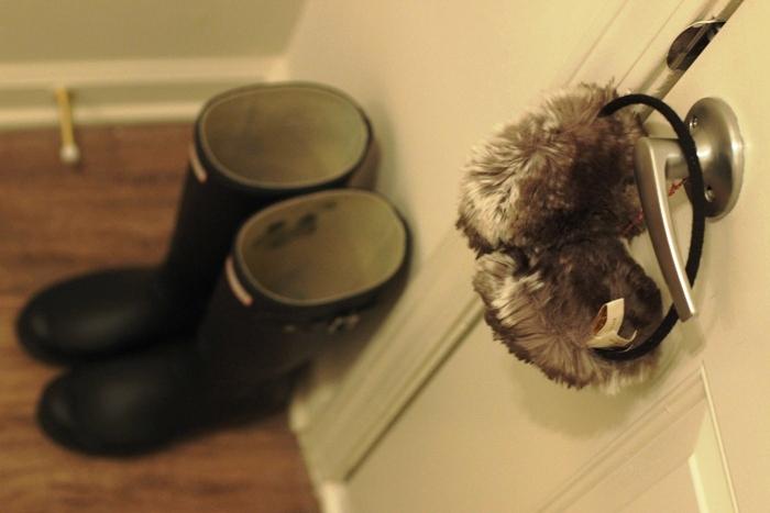Fur Ear Muffs and Hunter Boots