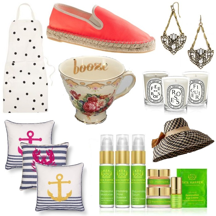 Mothers day Gift Guide 2015 Kate Spade Polka Dot Apron | JCrew Espadrille Slip-ons | Bauble Bar Crystal Zelda Earrings | Urban Outfitters Cheeky Teacup | Assorted Diptyque Candles | Threshold Throw Pillows | Tata Harper Resurfacing Mask Discovery Kit | Raffia Gingham Sun Hat