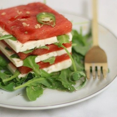 Watermelon & Feta Salad w/ Serrano Chile Vinaigrette