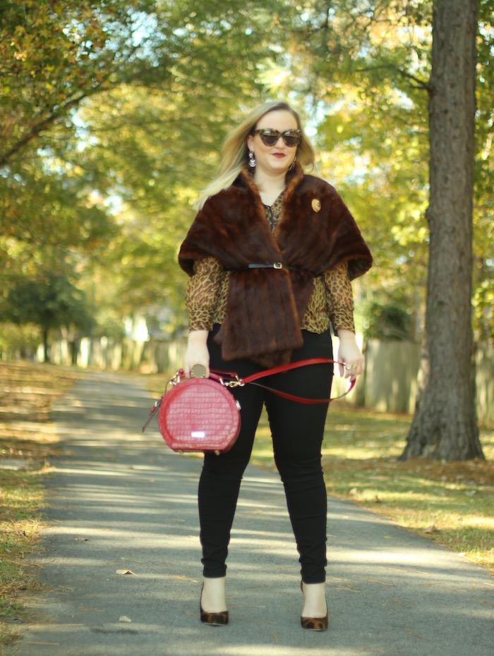 Fur Stole Outfit Fall Fur Leopard Blouse
