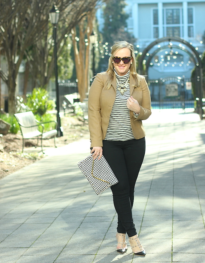 French Look Outfit Stripe Turtleneck JCrew Blazer Jenna Wessinger Just a Touch Too Much Atlanta