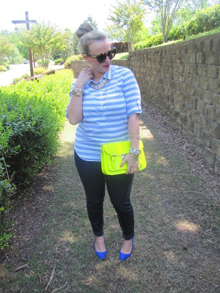 JCrew Stripe Pullover Neon Yellow Satchel