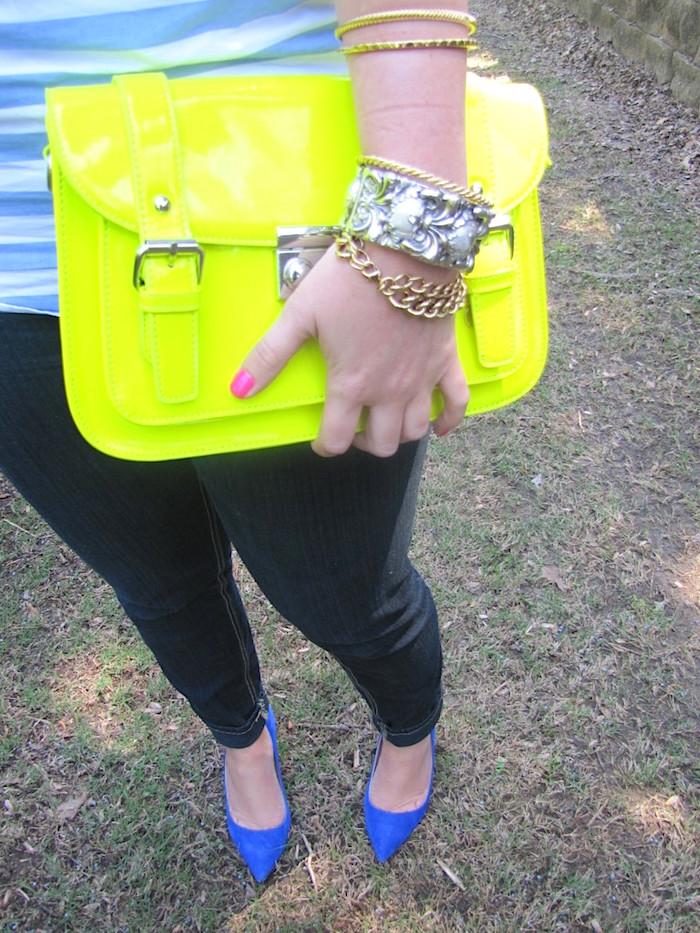 Neon Yellow Satchel Blue Suede Heels