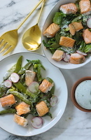 Spring Vegetable & Salmon Salad w/ Herb Dressing