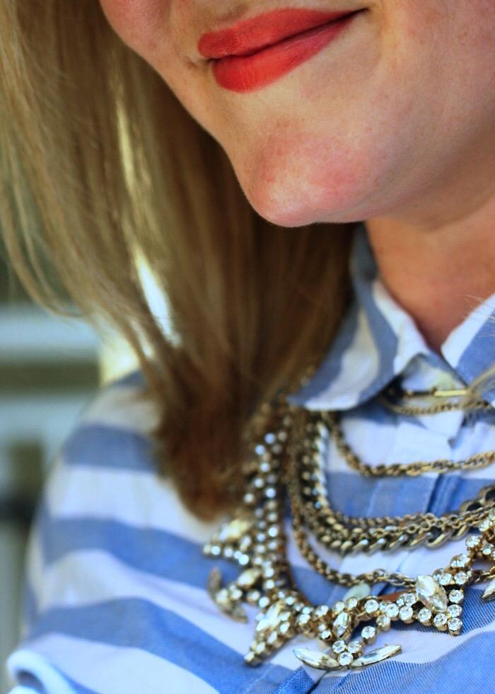JCrew Linen Pullover Neon Tweed Skirt Juliet & Company Mirage Necklace