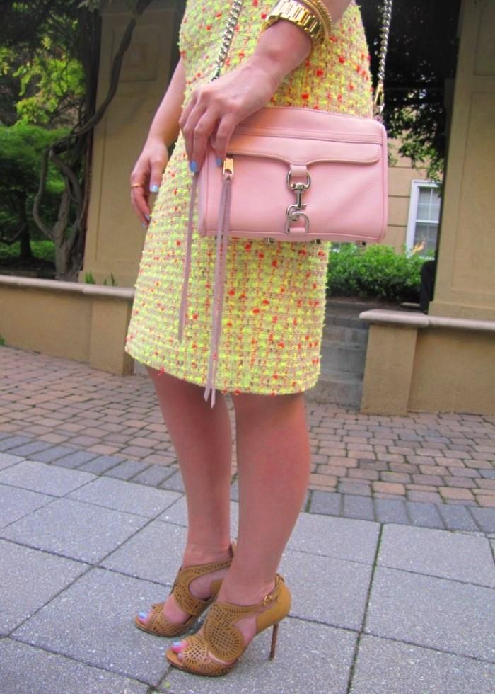JCrew Linen Pullover Neon Tweed Skirt