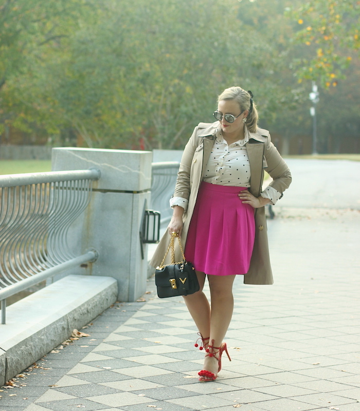 Fuchsia Skirt Red Shoes Trench Coat Fall Outfit Jenna Wessinger