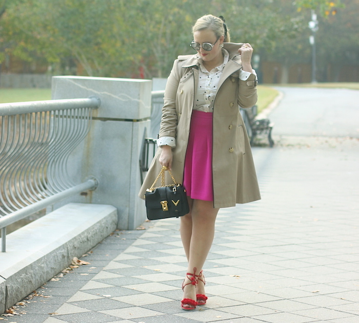 Fuchsia Skirt Red Shoes Ralph Lauren Trench Coat Fall Outfit Jenna Wessinger