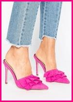 Summer 2017 Fashion Slide Mule Sandals Miss Selfridge Ruffle Heeled Mule