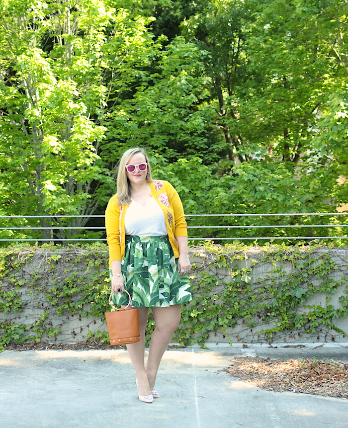 Palm Print Party Skirt Mustard JCrew cardigan Target bucket bag
