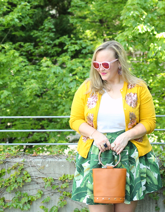 Palm Print Party Skirt Mustard JCrew cardigan Target bucket bag Spring outfit