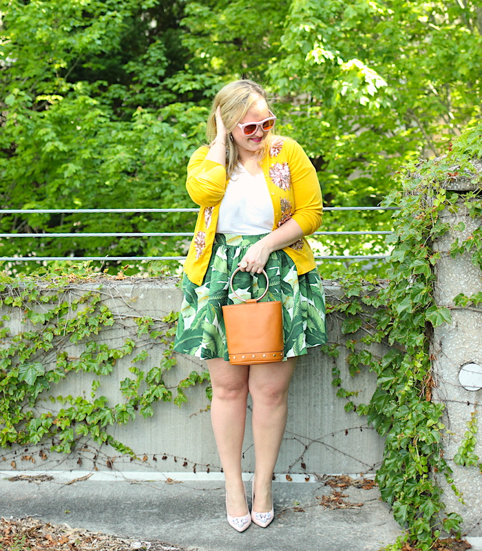Palm Print Party Skirt Mustard JCrew cardigan Target bucket bag Jenna Wessinger Atlanta Fashion Blogger