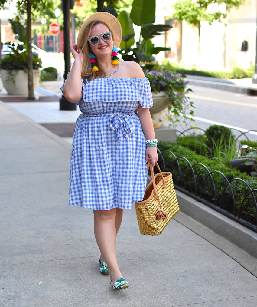Anthropologie Gingham Off the Shoulder Dress Jenna Wessinger Just a Touch Too Much Atlanta Fashion Blog Morgan Hayes Photography