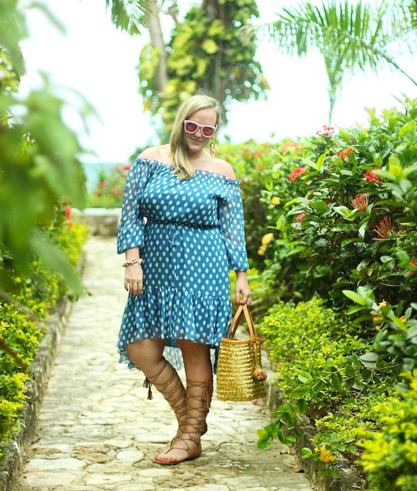DVF Polka Dot Off the Shoulder Dress Jamaica