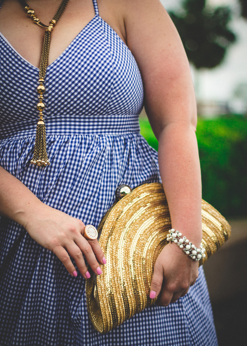 Gold Wicker Metallic Clutch Gold Tassel Necklace Jenna Wessinger Just a Touch Too Much Charleston Atlanta Fashion Blogger