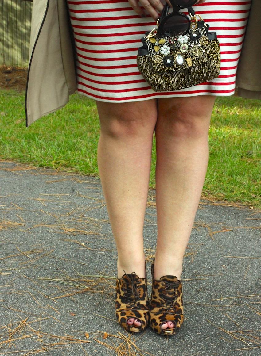 Jcrew Striped Turtleneck Dress Free People Vintage Brooch Clutch Leopard Booties Christian Louboutin Jenna Wessinger Fall Outfit Atlanta south