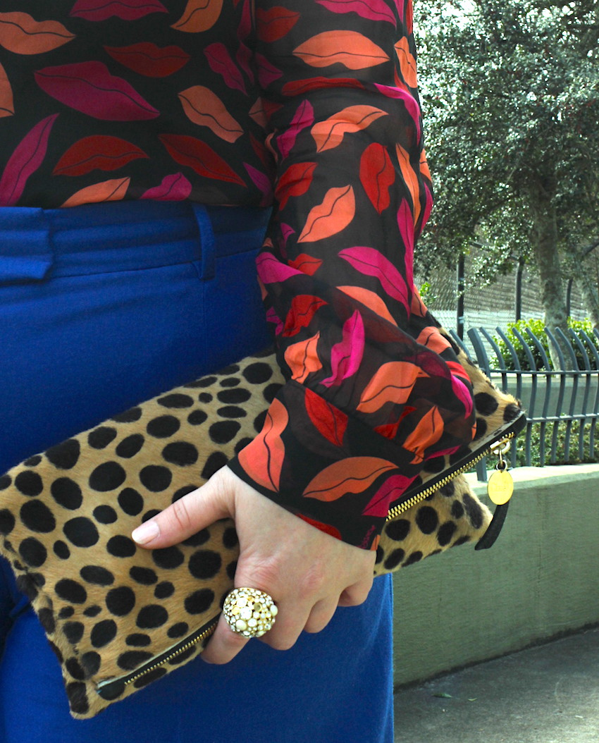 DVF Lip Print Blouse JCrew Blue Wide Leg Trouser Valentine Outfit Jenna Wessinger Just a Touch Too Much Fashion Blog Clare V Leopard Foldover Clutch