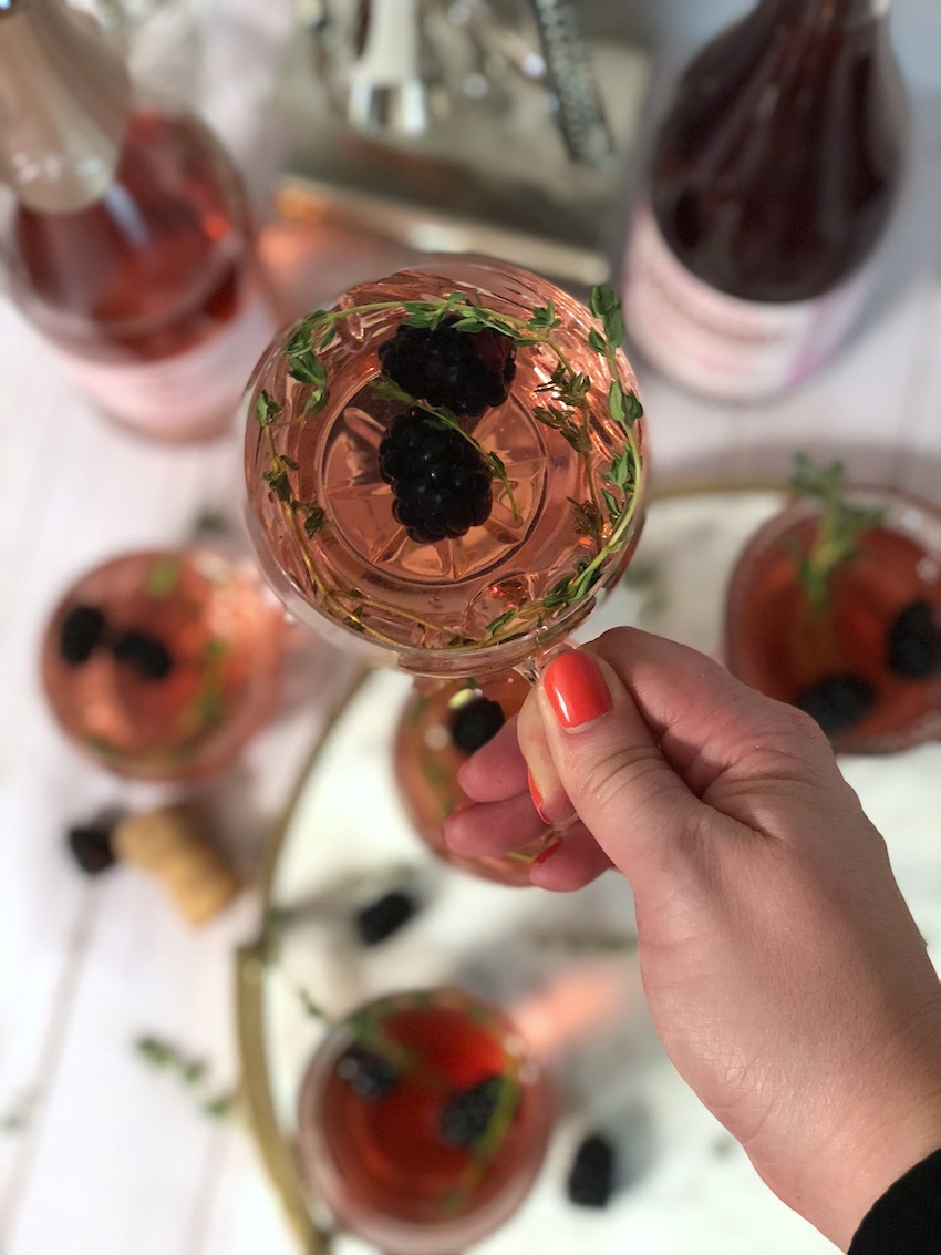 Valentine Cocktail Rose Champagne Trader Joes Berry Thyme Jenna Wessinger Just a Touch Too Much Atlanta Food Blogger