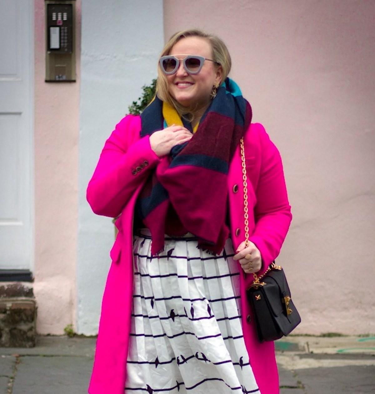 Chicwish Bird Midi Skirt JCrew fuchsia coat asos multi blanket scarf charleston fashion blog jenna wessinger just a touch too much