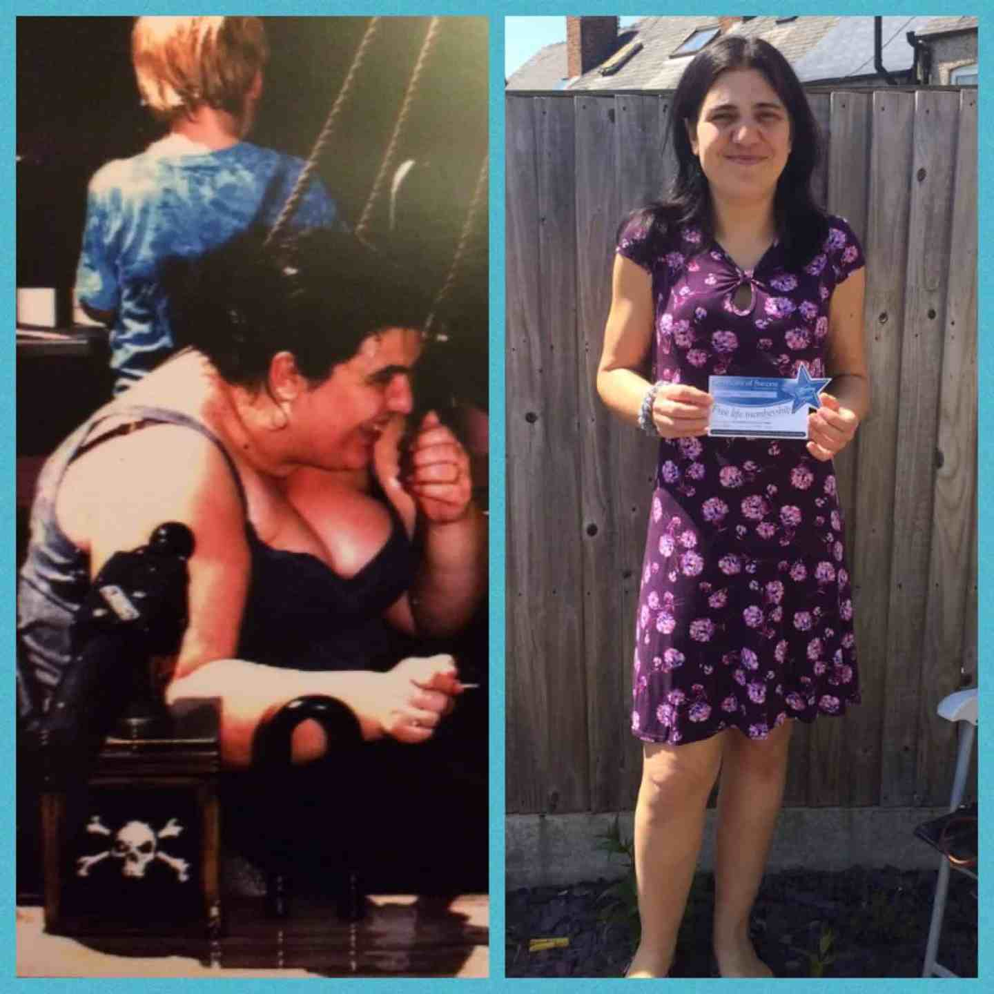 Jen before sitting on a ride with huge obese arms and chest, jen after wearing a dress standing smiling looking slim