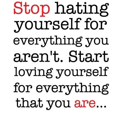 """Quote """"stop hating yourself for everything you aren't. Start loving yourself for everything you are."""""""