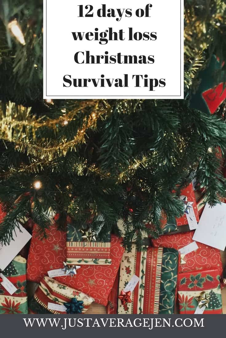 Presents under a christmas tree with the words 12 days of weight loss christmas survival tips