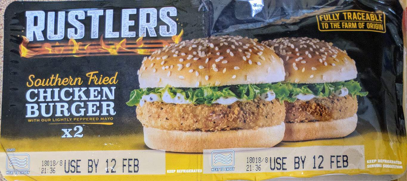 Rustlers twin pack of southern friend chicken burgers