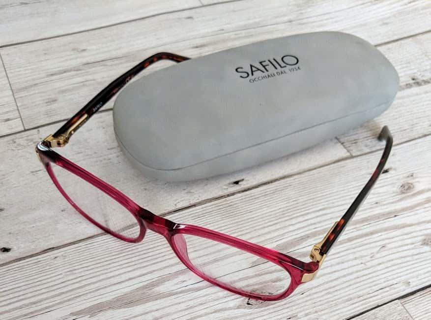 Safilo purple frames glasses with a grey safilo case